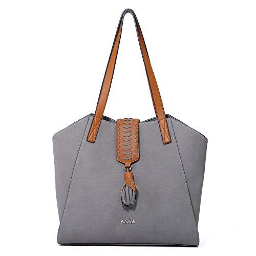 Kadell Leather Tote Bag Handbags Grind Arenaceous Designed with Braided Tassels Shoulder Purse (Braided Shoulder Tote)