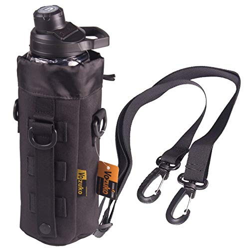 (VOZUKO Tactical Molle Water Bottle Pouch with Sling H2O Hydration Carrier Bag - Black)