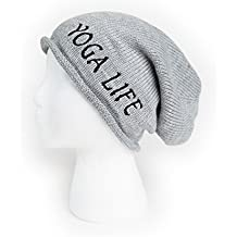 Slouchy Beanie for Men and Women Yoga Life Embroidered Hat One Size Light Gray