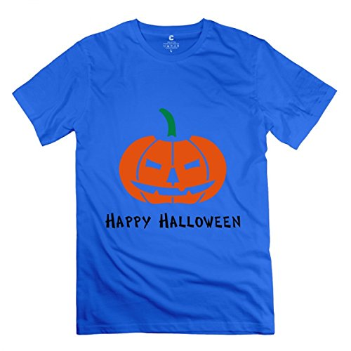 LiaoYang Happy Halloween Royal Blue Adult Standard Weight T-Shirt for Men M -