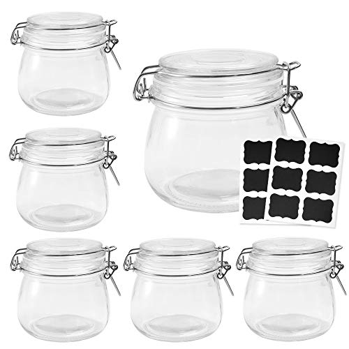 Betrome 16 OZ Glass Preserving Jars with Airtight Rubber Gasket Lid Reusable Kitchen Storage Jar for Jam, Jelly, Honey, Beans, Spice(6 Pack) ()