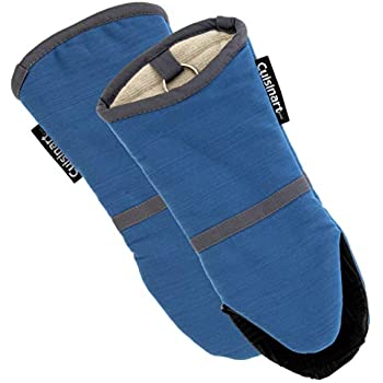Cuisinart Silicone Oven Mitts-Heat Resistant up to 500 degrees F Handle Hot Cooking Items Safely-Non-Slip Grip Oven Gloves with Soft Insulated Deep Pockets and Convenient Hanging Loop-Cornet Blue, 2pk