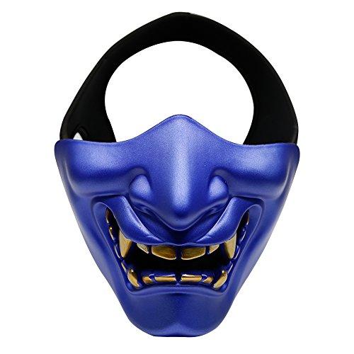 Halloween Monster Face Mask (Aoutacc Airsoft Half Face Masks, Evil Demon Monster Kabuki Samurai Hannya Oni Half Face Protective Masks for Masquerade Ball, Party, Halloween, Cs War Game, BB)