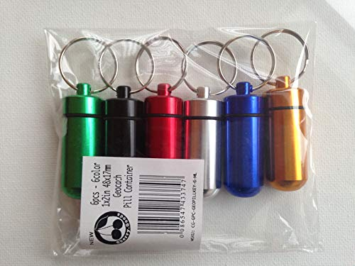(Cherry Goods Geocache Container - 1 x 2-inch (Set of 6 Pcs) - Pill Box-Case Bottle-Cache-Drug Holder-Keychain)