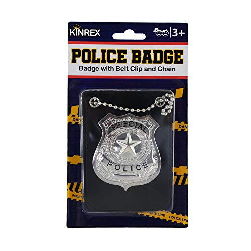 KINREX Police Badge Costume for Kids - Pretend Play Dress Up Accessories - Includes Chain and Black Belt Clip -