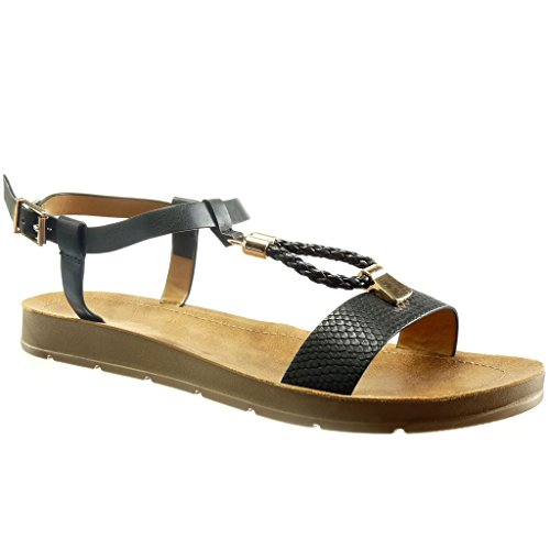 serpiente para metálica de Piel mujer Zapatos moda Trenzado Bar Negro Angkorly Plataforma de Abierto de 2 cm cuña t Sandalias qPREwBaE
