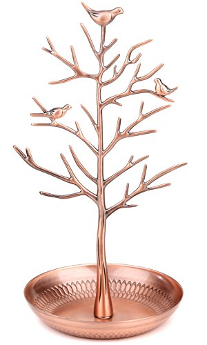 WELL-STRONG Earring Ring Holder Necklace Bird Decoration Jewelry Tower Tree for Girl Bronze by WELL-STRONG (Image #7)