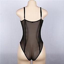 Sinfu Women Bandage Sheer Triangle Jumpsuit One-Piece Lace Bralette Bustier Crop (Size:L)