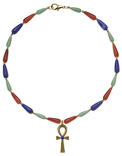 SUMMER Sale - Reproduction of 16'' Multi-color Egyptian Necklace, Ankh Center, From Our Museum Collection by ILANET Museum Reproductions