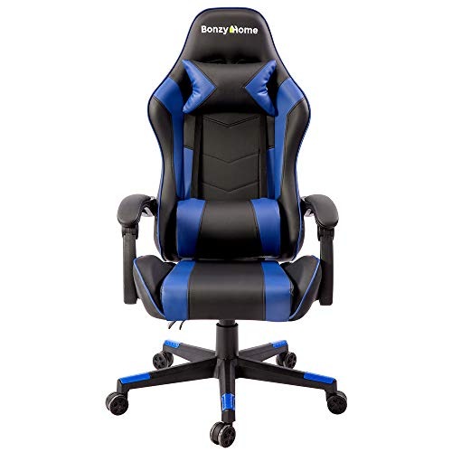 Bonzy Home Computer Gaming Chair Ergonomic Recliner Computer Chair Leather Racing Style Office Chair High-Back E-Sports Game Chair with Lumbar Support Video Game Chairs (Blue)