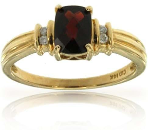 14k Yellow Gold Cushion Shape Garnet Gemstone and Diamond Ring, Birthstone of January.