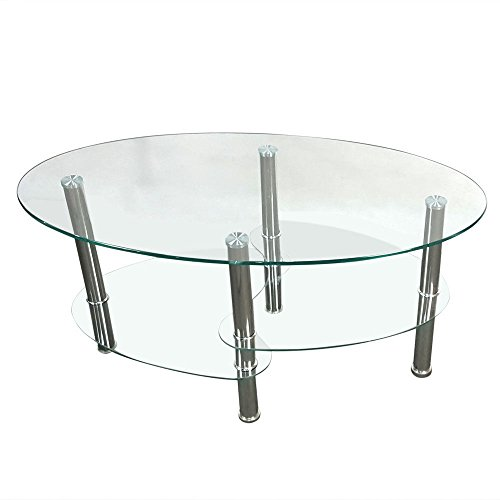 (Prountet Tempered Glass Oval Side Coffee Table Shelf Chrome Base Living Room Clear New)