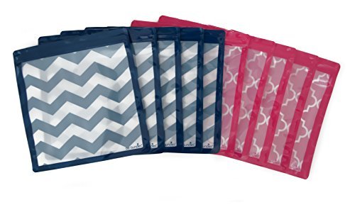 Be Bundles Waterproof Storage Bags, 10-Pack, Medium (11 inch - Gallon Size), Pink (5) / Navy (5) -BPA/Vinyl Free! Great for toiletries, etc. | ziplock Type Bag | Reusable | Food Grade