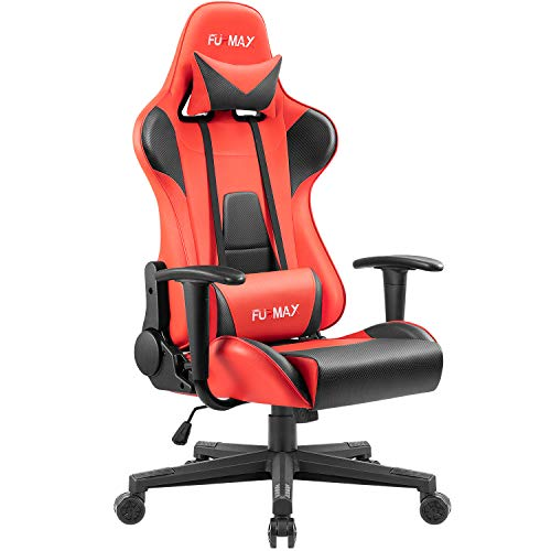 Furmax High-Back Gaming Office Chair Ergonomic Racing Style Adjustable Height Executive Computer Chair,PU Leather Swivel Desk Chair (Black/Red) Furmax