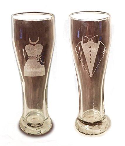 Laser Engraved Bride and Groom Glasses - 15 oz Pilsner Beer Glasses - Wedding Toasting Set of 2 - Couples Gifts - Engagement Gift - Original Wedding Gifts - Custom (Glass Laser)