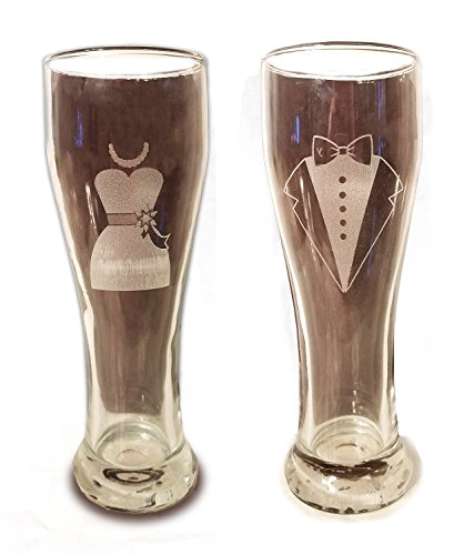 Laser Engraved Bride and Groom Glasses - 15 oz Pilsner Beer Glasses - Wedding Toasting Set of 2 - Couples Gifts - Engagement Gift - Original Wedding Gifts - Custom Wedding