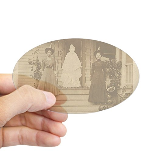 CafePress Vintage Halloween Photograph Witche Sticker (Oval) Oval Bumper Sticker, Euro Oval Car Decal ()
