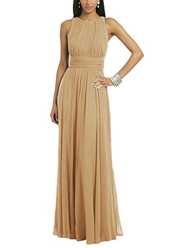 Chiffon Sheath Prom Dress - Women's Elegant Pleated Chiffon Long Cocktail Party Maxi Dress Prom Gown Champagne US4