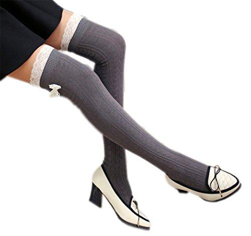 Vwhite Ladies Girls Winter Bowknot Leg Warmer Lace Knit Crochet Sock Leggings Dark Grey -