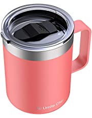 Umite Chef Stainless Steel Insulated Coffee Mug Tumbler with Handle, 12 oz Double Wall Vacuum Tumbler Cup with Lid Insulated Camping Tea Flask for Hot & Cold Drinks(Coral)