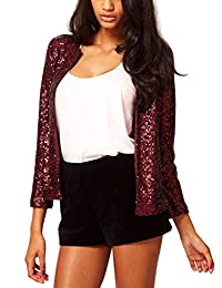 SEBOWEL Women Shiny Sequin Blazer Jacket Open Front Cropp Bolero Shrug Cardigan
