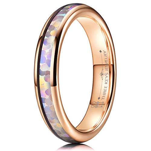 THREE KEYS JEWELRY 4mm Womens White Imitated Opal Fire Inlays Tungsten Carbide Ring Rose Gold Wedding Promise Bands Stackable for Women Men Size 6