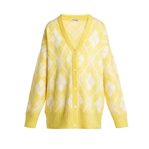 (ミュウミュウ) Miu Miu レディース トップス カーディガン Oversized argyle mohair-blend cardigan [並行輸入品]