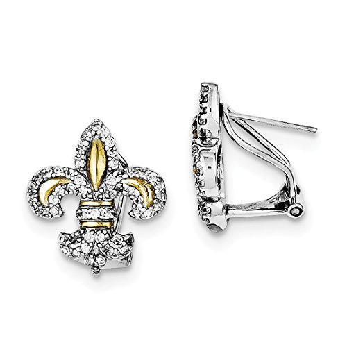 ICE CARATS 925 Sterling Silver Vermeil Fleur De Lis Cubic Zirconia Cz Omega Back Earrings Drop Dangle Fine Jewelry Ideal Gifts For Women Gift Set From Heart Solitaire Vermeil Earrings