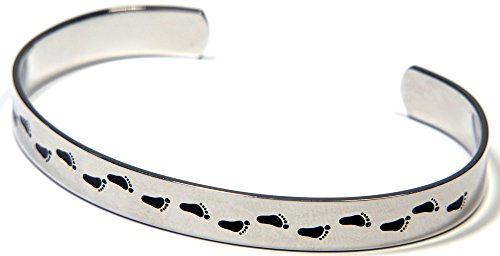 Bracelet Cuff Sand Steel Stainless (Joyful Sentiments Footprints in The Sand Cuff Bracelet)