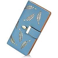 Lorna Women's Leather Wallet Hollow Leaf Pattern Bifold Long Wallet