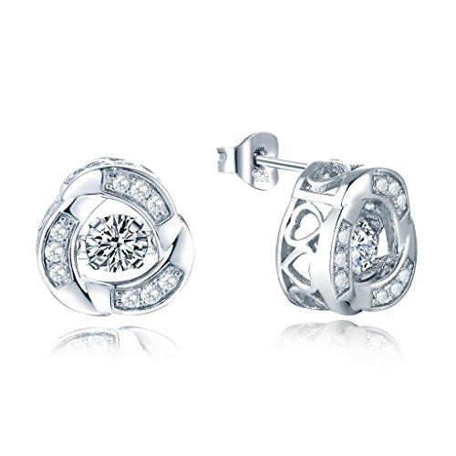 yl Dancing Diamant Argent 4mm 0,49CT Oxyde de Zirconium Style de noeud d'amour Boucles d'oreille à tige latérale avec cœur creux