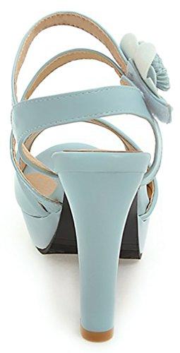 Calaier Women Salsh Open-Toe 10CM Block Heel Hook-and-Loop Sandals Shoes Blue 4sEvZ