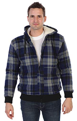 (Gioberti Mens Checkered Flannel Hoodie Jacket with Sherpa Lining, Navy/Gray, L)