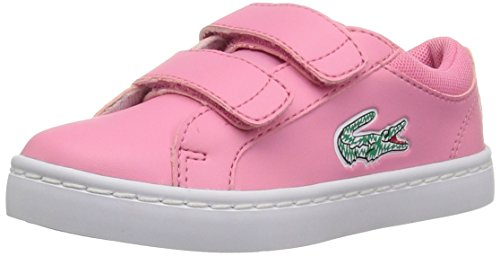 Sneakers Lace Lacoste (Lacoste Kids' Straightset Lace Sneakers,Pink/White synthetic,7. M US Toddler)