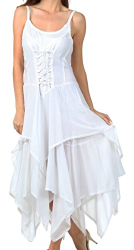 Sakkas 9031 Corset Style Bodice Jaquard Lightweight Handkerchief Hem Dress - White - One (Fairy Dress For Women)