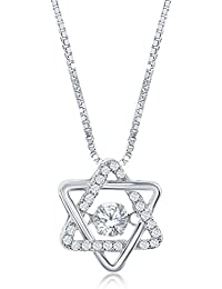 925 Sterling Silver Classic Cubic Zirconia Jewish Star of David Pendant Necklace Cz Stones