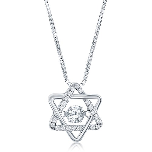 925 Sterling Silver Classic Cubic Zirconia Jewish Star of David Pendant Necklace Cz (20' Jewelry Stamp)