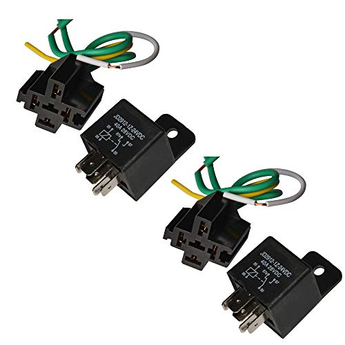Relay 24v (Ehdis Car Truck Relay Socket Harness kit 5 Pin 5 Pre-wired 24V 40 Amp SPDT Bosch Style, Automotive Motor Relay Contactor Switches Power, Pack of 2)