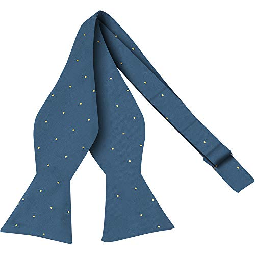 Luther Pike Self Tie Woven Dots Bow Ties For Men Tuxedo Bowtie Light Navy Blue Bow Tie ()