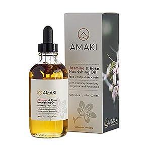 Amaki Organic Essential Oil for Face, Body, Lip, Hair Nails - Blend of Rosehip, Jojoba, Sweet Almond, Primrose, Argan, Jasmine - Effective Facial Moisturizer Serum - Reduces Wrinkles, Acne Scar 119