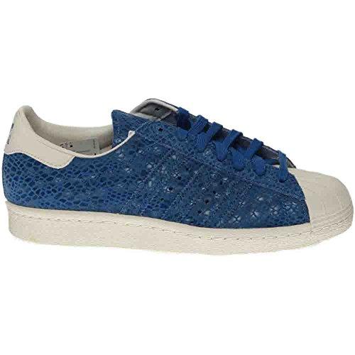 Adidas Femmes Superstar 80s W Originaux Chaussure Décontractée Surf Bleu / Surf Bleu / Craie Blanc