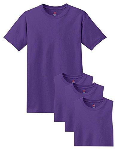 - Hanes mens 5.2 oz. ComfortSoft Cotton T-Shirt(5280)-PURPLE-L-4PK