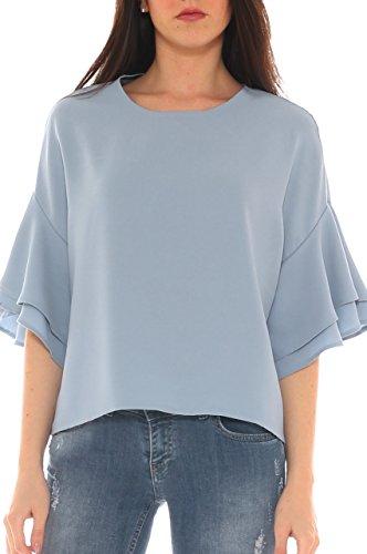 Azzurro Sulle di Con Camicia Crepe Key In Volant Jersey Donna Maniche vO7qwa8w