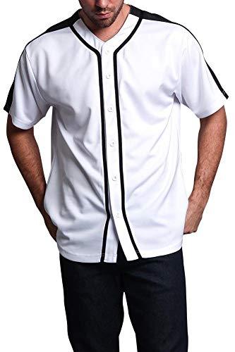 (Victorious Men's Two Tone Baseball Jersey BJ38 - White/Black - Medium - E13E)
