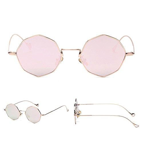 Z&YQ Lunettes de soleil géométrie symétrique octogonale vacances sauvages lunettes de soleil hommes et femmes , gold frame red film