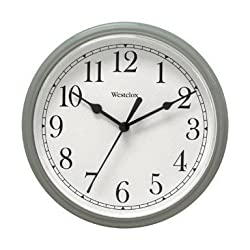 Nyl Holdings Llc 46984 Westclock Quartz Movement Round Wall Clock 9, Silver