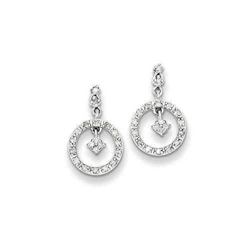 Sterling Silver Diamond Circle Post Dangle Earrings by CoutureJewelers