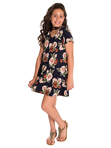Smile You Are Beautiful Girls Plus Size Floral Print Brushed Gigi kneck Dress Navy 10.5 - XXS