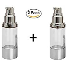 Travel Cosmetic Containers BPA Free Bundle for Makeup Foundations, Serums and Gels - Lightweight Leak Proof Airless Pump Bottle & Shockproof Travel Container (2 PACK - 1 Fl. Oz)