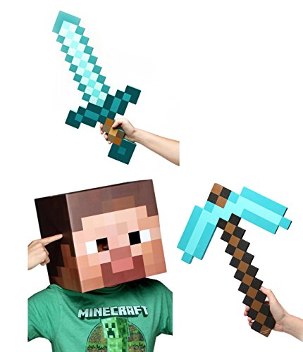 Minecraft Steve Head, Diamond Sword & Pickaxe Costume Set (Minecraft Costumes Kids)